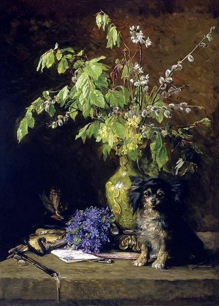 Bertha Wegmann - Spring Bouquet with Dog