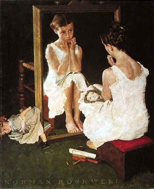 Norman Rockwell  - Girl at Mirror