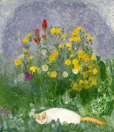 boris anisfeld - Cat with Wild Flowers