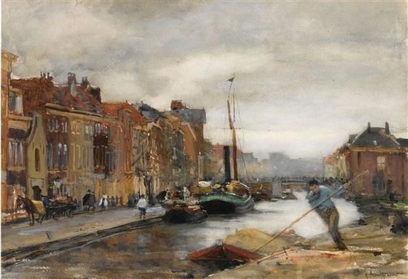Floris Arntzenius - a view of a canal, Scheveningen
