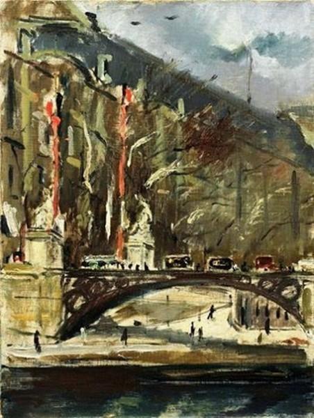 Filippo de Pisis - Bridge over the Seine in Paris, 1926