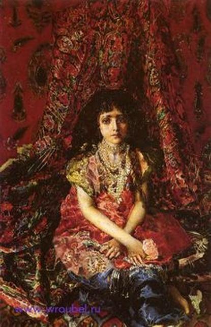 Врубель - Девочка на фоне персидского ковра
