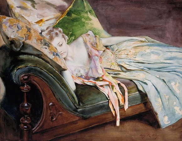 Irving Ramsey Wiles -  The Green Cushion, c.1895