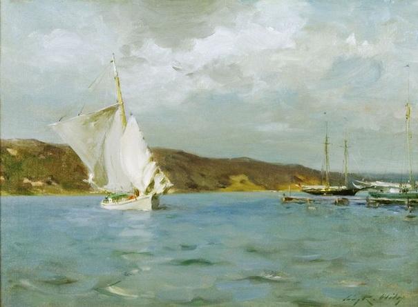 Irving Ramsey Wiles - White Sloop, Peconic Bay