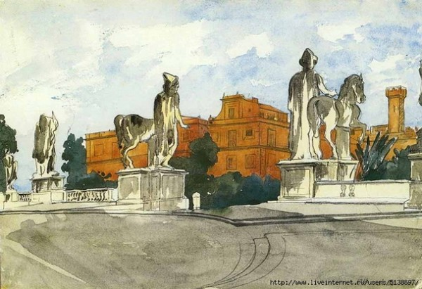А.П.Остроумова-Лебедева Диоскуры на Капитолийской площади в Риме