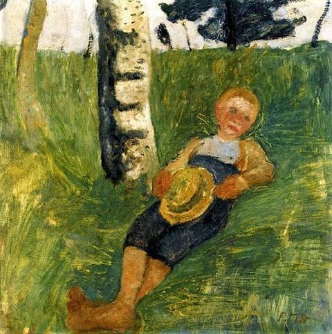 Paula Modersohn-Becker -  Young Man Lying in Grass next to a Birch Tree
