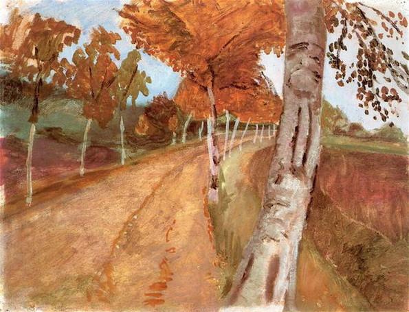 Paula Modersohn-Becker - Avenue of Birch Trees in Autumn