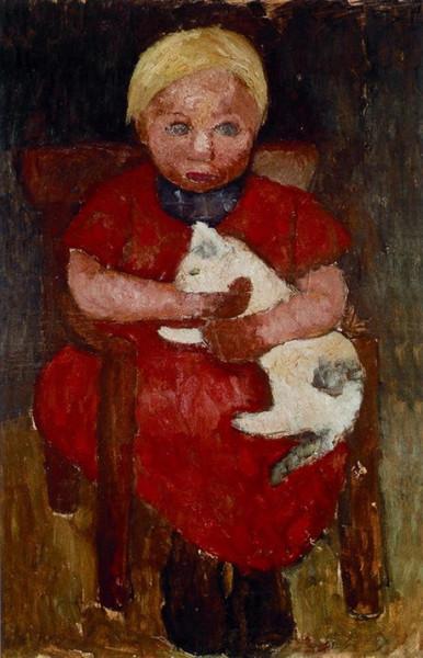 Paula Modersohn-Becker - Sitzendes blondes adchen mit Katze