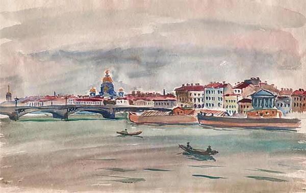 Pyotr Konchalovsky - Ленинград. Нева. Вид на Английскую набережную