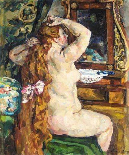 Pyotr Konchalovsky - Натурщица с рыжими волосами у зеркала