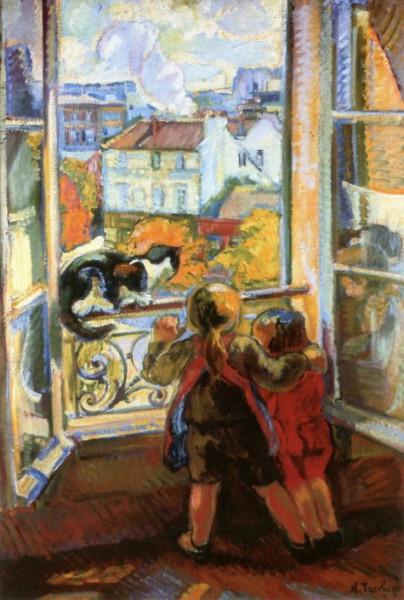 Nicolas Tarkhoff - Nicolas Tarkhoff - Two Children and Cat by the Window