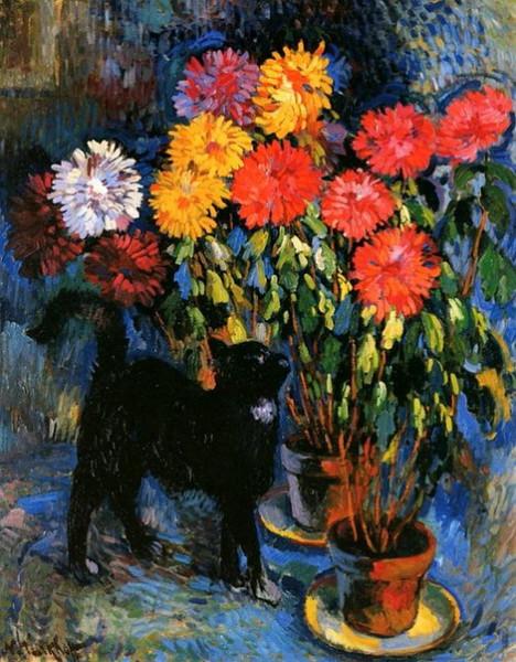 Nicolas Tarkhoff - Dahlias and Black Cat