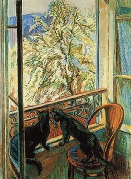 Nicolas Tarkhoff -  Cats by the Window,1909