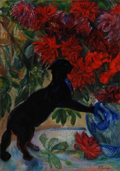 Nicolas Tarkhoff - Cat with flowers