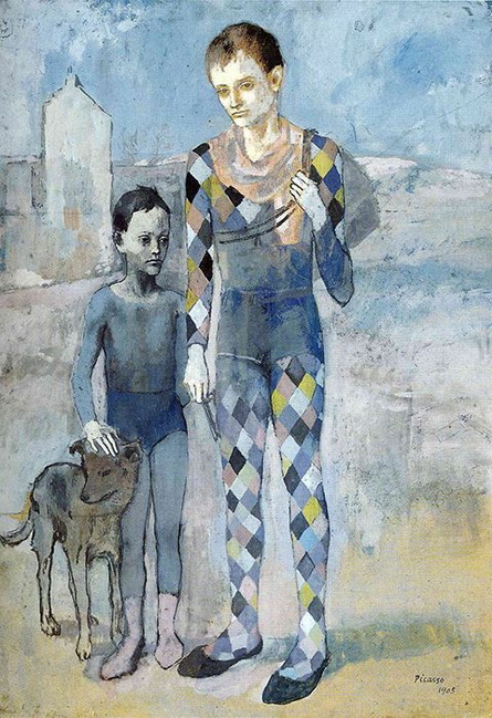 Pablo Picasso - Two acrobats with a dog
