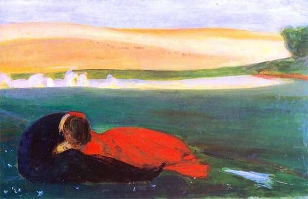 Wojciech Weiss - A Kiss on the Grass