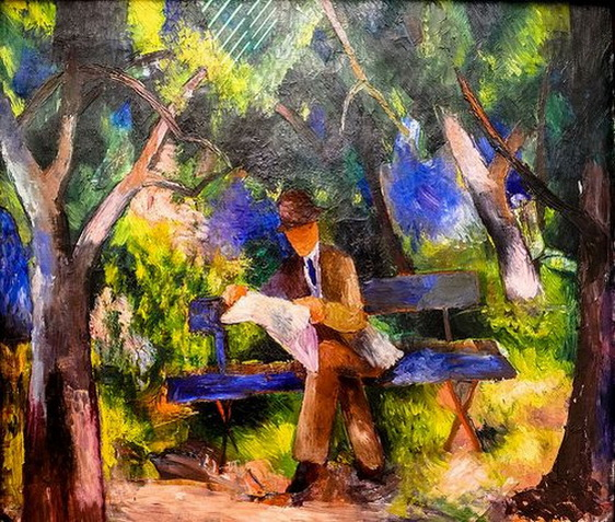 August Macke - Man reading in the Park
