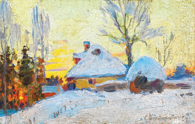 Васильковский Сергей - Зима в деревне на закате