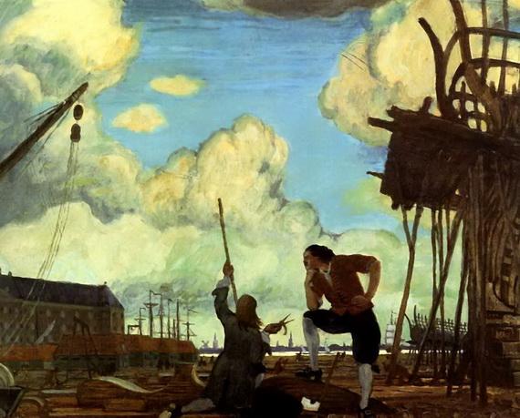Добужинский - Петр Великий в Голландии