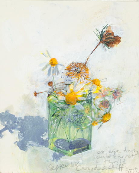 Kurt Jackson -  Ox-eye daisy, wild carrot and thrift, Cargodna cliff.