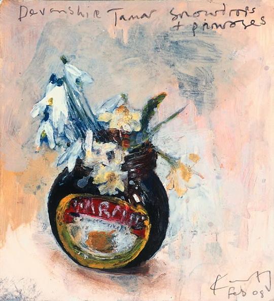 Kurt Jackson Devonshire Tamar snowdrops and primroses