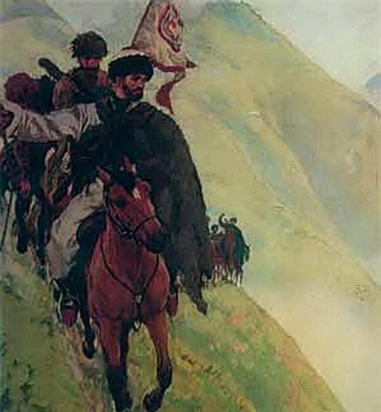 Лансере - Хаджи-Мурат с мюридами спускается с гор