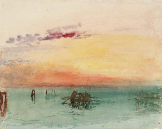 Joseph Mallord William - Venice Looking across the Lagoon at Sunset