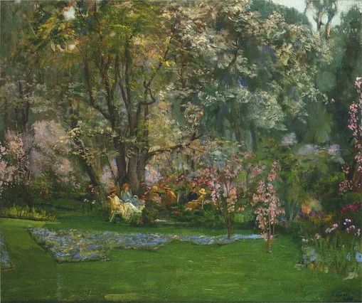 Sir John Lavery Spring in a Riviera Garden