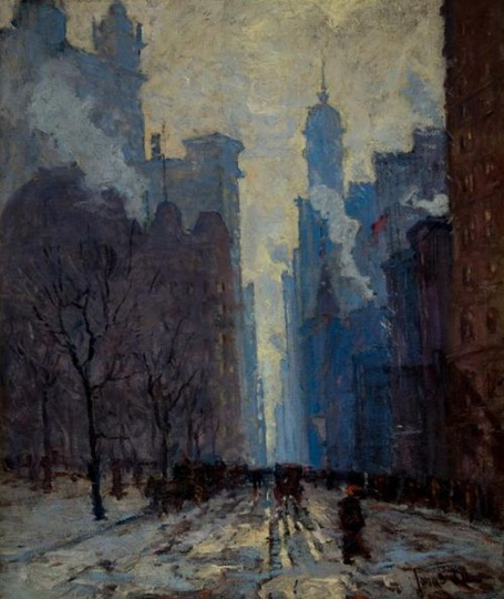 Jonas Lie   Dusk on Lower Broadway, 1910