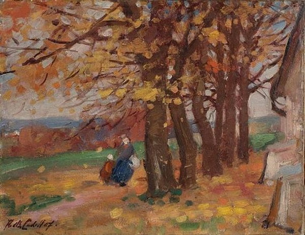 Francis Cadell    Figures in a landscape
