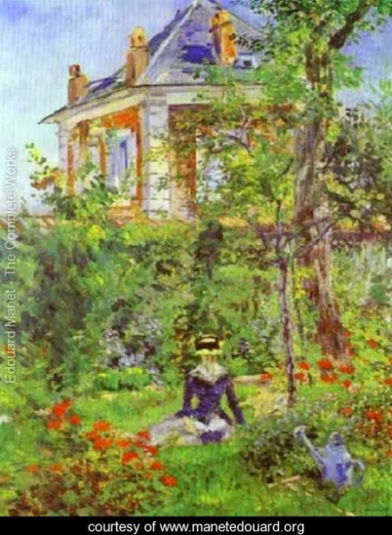Edouard Manet   Girl-In-The-Garden-At-Bellevue-large