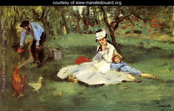 Edouard Manet   The-Monet-Family-In-The-Garden-large