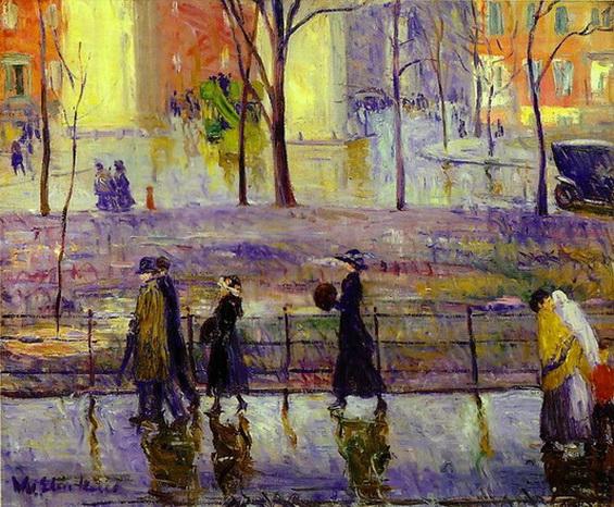 William Glackens, March Day Washington Square, 1912