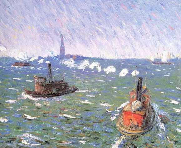 William James Glackens  Breezy Day Tugboats New York Harbor