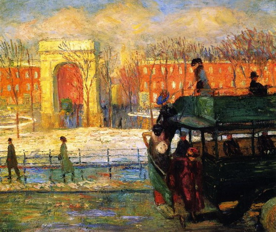 William James Glackens  DESCENDING FROM THE BUS (1910)
