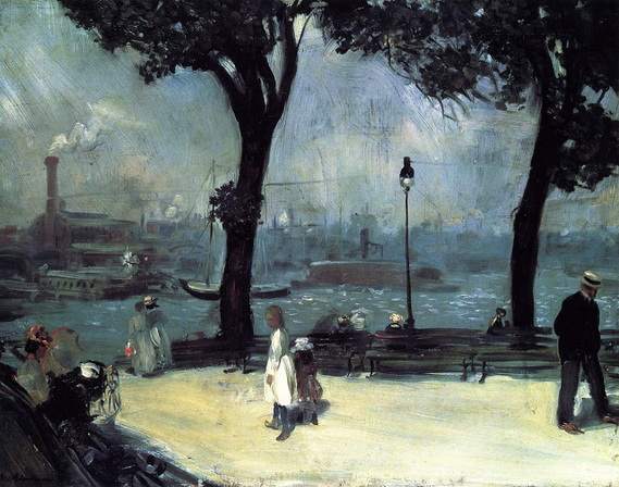 William James Glackens  Park on the Rive