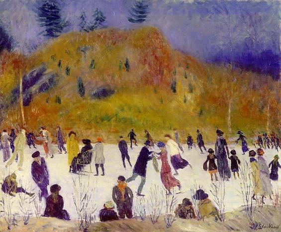William James Glackens SKATING IN CENTRAL PARK (1910)