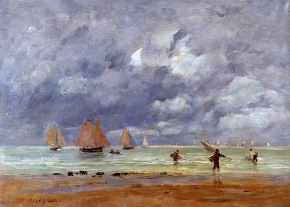 Eugene Boudin Fishermen and Sail boats near Trouville