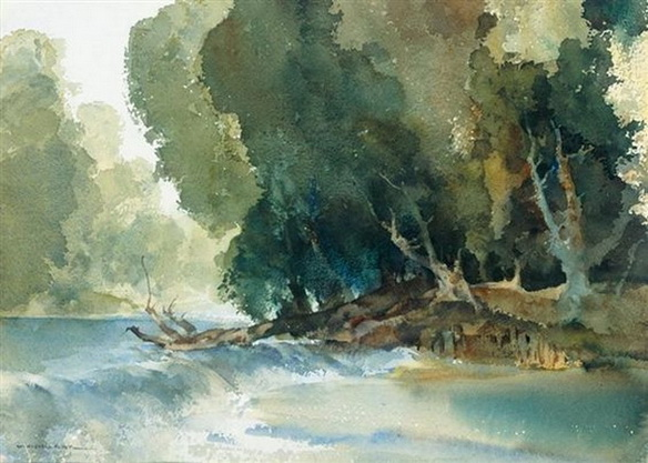 William Russell Flint -  A Weir at the Drome at Brantome