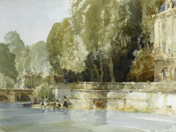 William Russell Flint -  Under the Terrace, Brantome