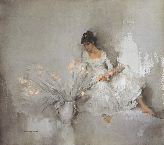 William Russell Flint - A Gift of Gladioli