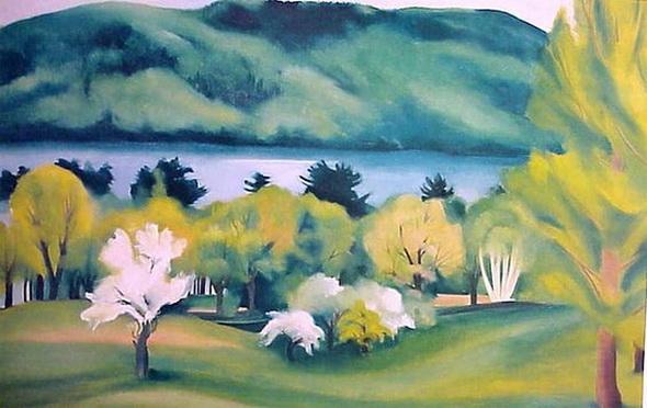 Georgia O'Keeffe - Lake George Early Moonrise, spring