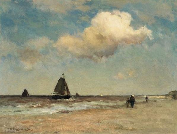 Johan Hendrik Weissenbruch -  The beach at Scheveningen