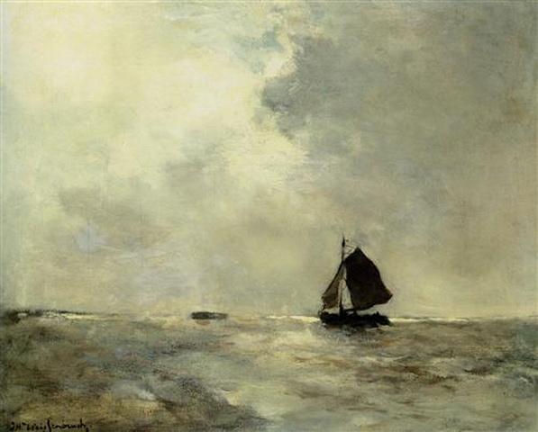 Johan Hendrik Weissenbruch - Sailing Boat in Choppy Seas