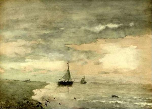 Johan Hendrik Weissenbruch - Schip op kalme zee
