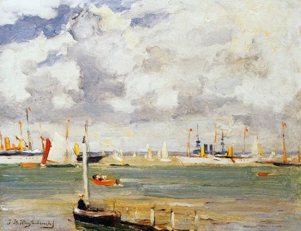Johan Hendrik Weissenbruch - Ships in harbour