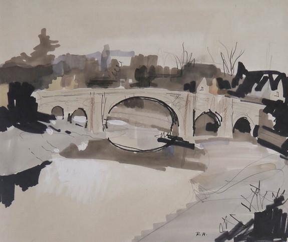Rowland Hilder - AYLESFORD BRIDGE, SKETCH