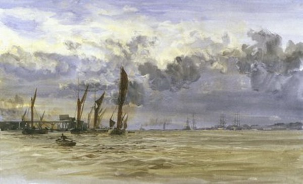 William Lionel Wyllie - Thames barges in the Medway