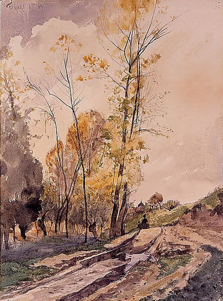 Henri Joseph Harpignies - Landscape at Famars