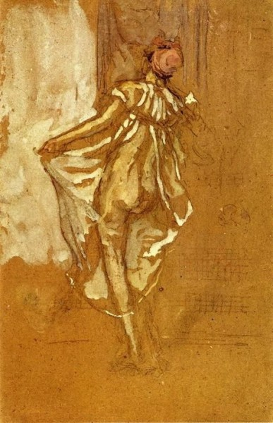 James Abbott McNeill Whistler  -  A Dancing Woman in a Pink Robe seen from the Back
